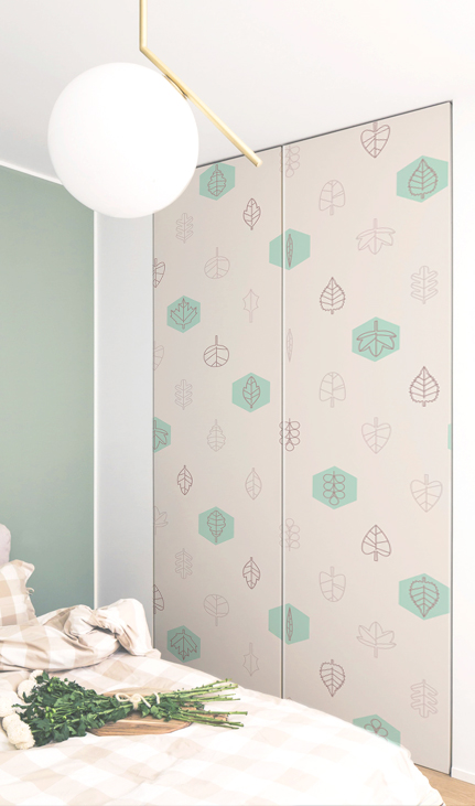 Geometrical wall decals tree leaf in the closet