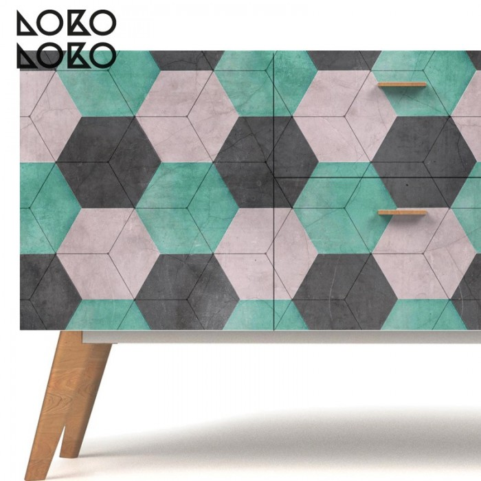 Sideboard decoration with vinyl for furniture of colourful ceramic hexagons