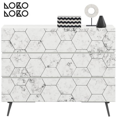 Decorative vinyl of sideboards of white hexagonal tiles