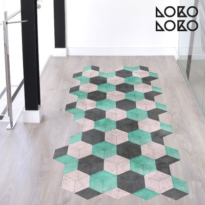 Printing vinyl to decorate stairs with ceramic design of vintage colours hexagonal tiles