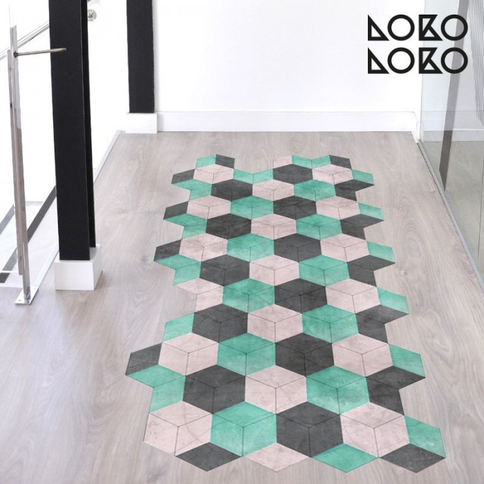 Flooring decorative vinyl of ceramic hexagons of vintage colours for corridors, halls and kitchens