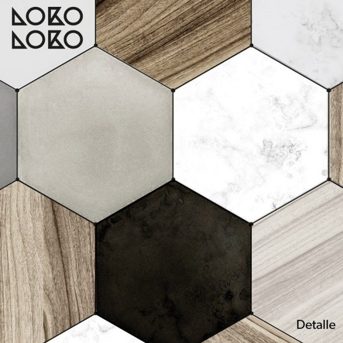 Flooring decorative vinyl with designs of printed wood and ceramic hexgonal tiles