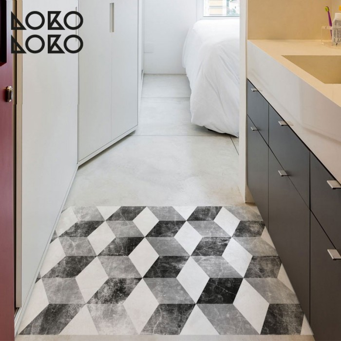 Decorative vinyl floor of ceramic cubes for bedrooms and bathrooms