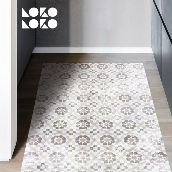 Adhesive vinyl for house, restaurant and shop floor decorations with vintage ceramic tiles