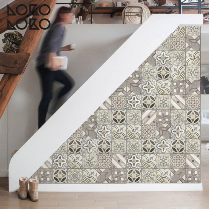 Vinyl for furniture, door and walls decor with mosaic of hydraulic floor tiles of vintage ceramic