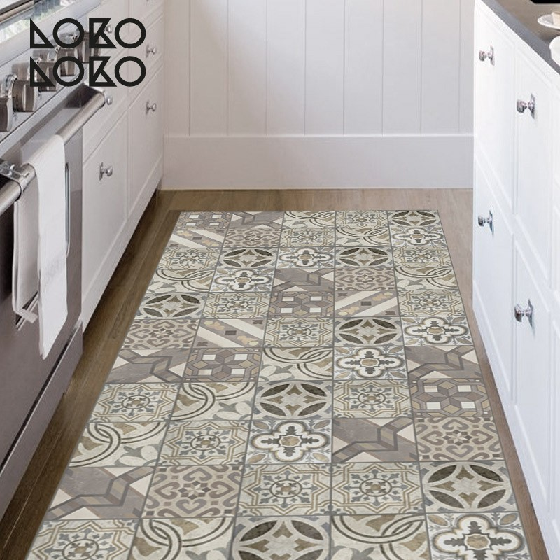 Vinyl for furniture of hydraulic floor tiles of retro style - Retro flooring kitchen ...