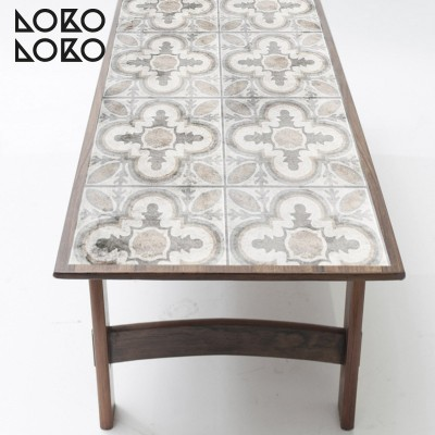 Vinyl to wrap rectangle tables with vintage design of ceramic tiles