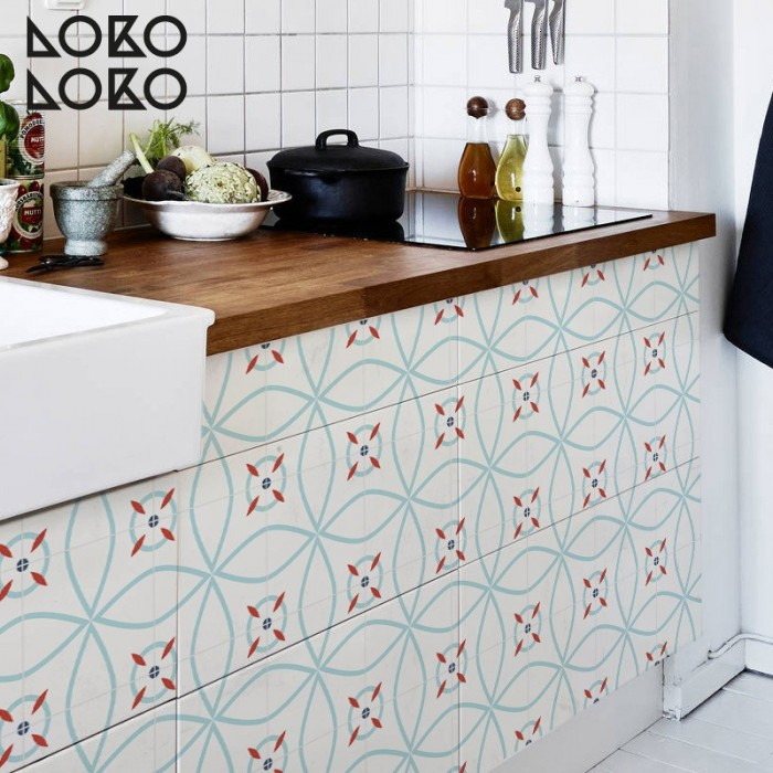 Kitchen furniture doors wrapped with vinyl of modern ceramic tiles