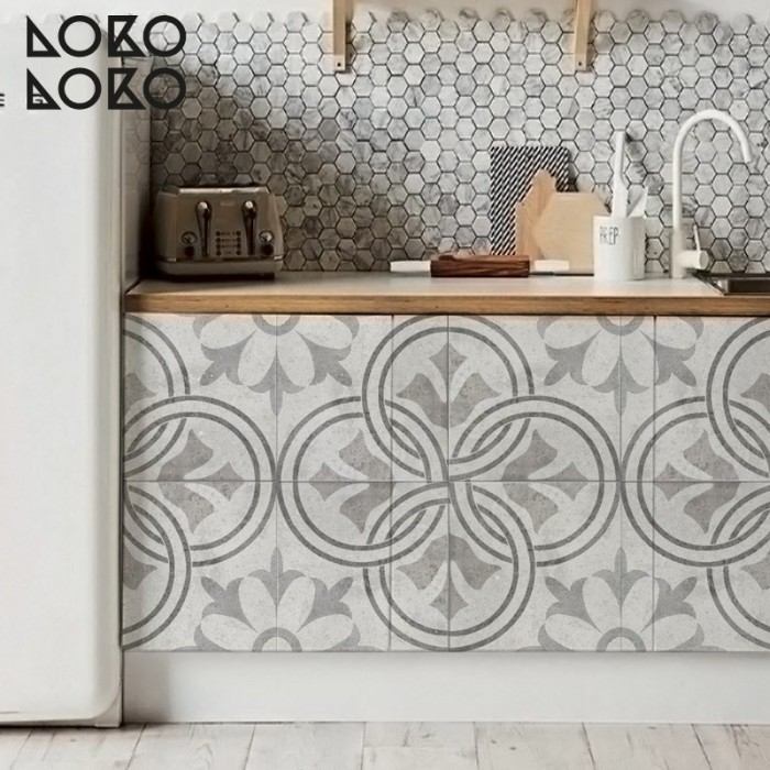 Vinyl for kitchen furniture decor of retro floor tiles with ornamental designs to renovate your decoration