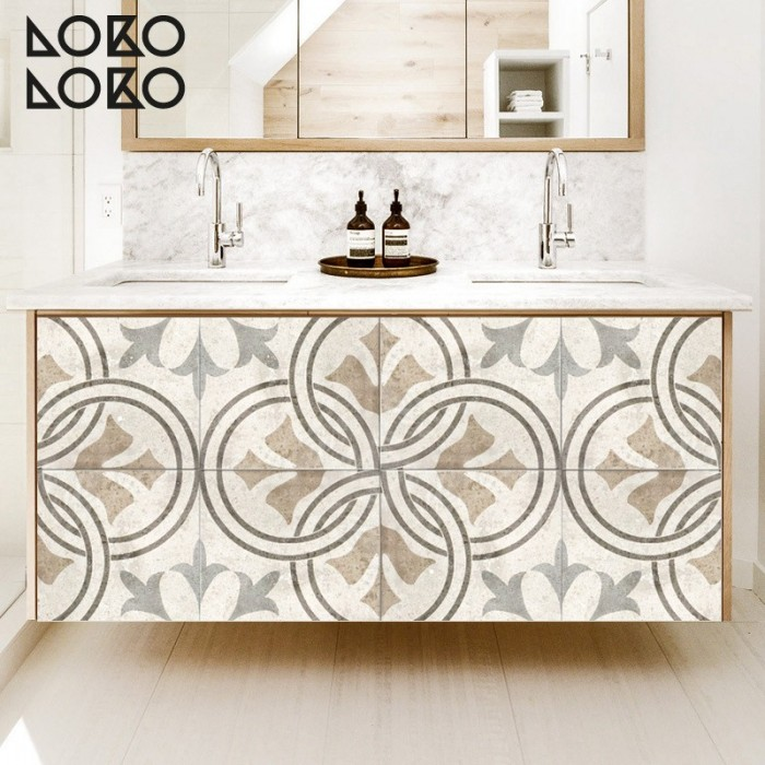 Vinyl to wrap bathroom furniture with printing of retro floor tiles in earth colours