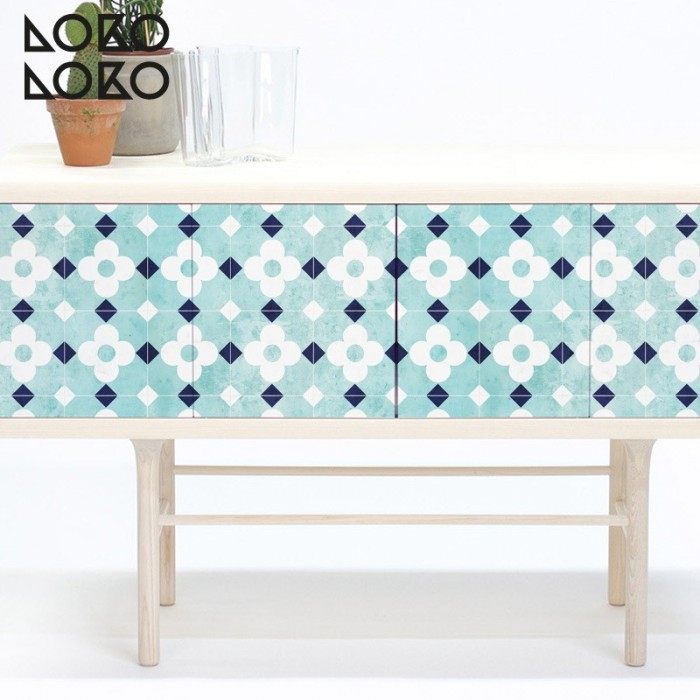 Decorate your sideboard doors with printing ceramic vinyl of white flowers over turquoise background
