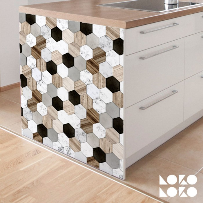 Vinyl os ceramic and wood tiles for kitchen furniture decor
