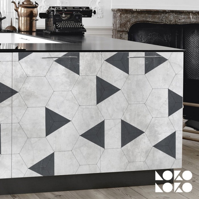 Furniture and kitchen cabinets with ceramic hexagon vinyl and black triangles