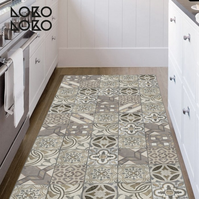 Decorative vinyl of hydraulic tiles for kitchen floor - Baldosa hidraulica cocina ...