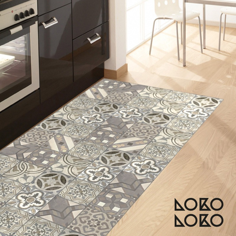 Decorative vinyl of hydraulic tiles for kitchen floor