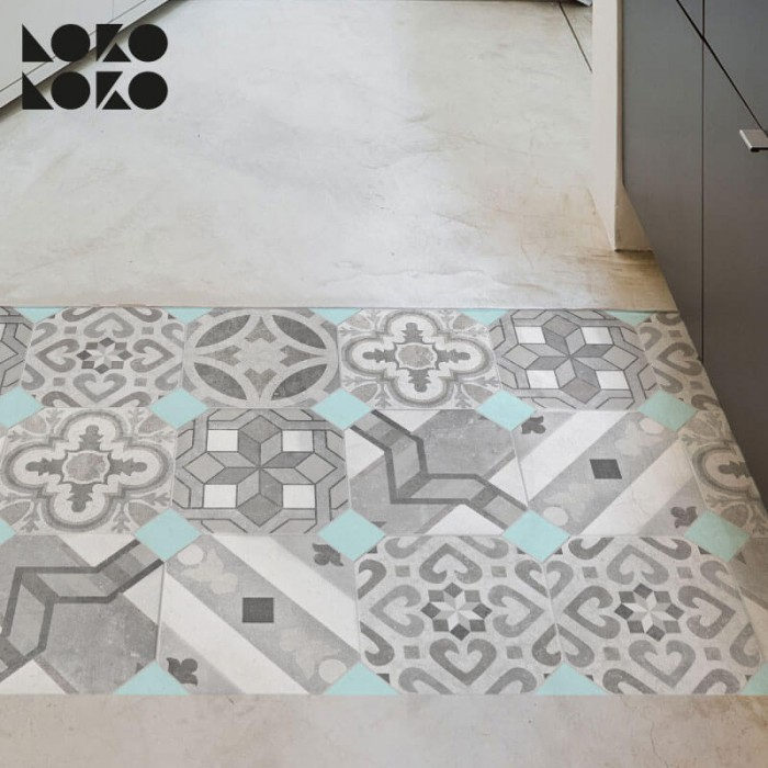 Adhesive vinyl of hydraulic floor imitation to decorate bedrooms and bathrooms