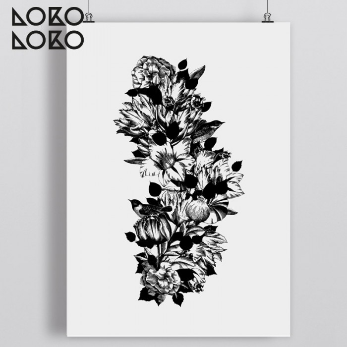 Decorative print with drawn black and white flowers