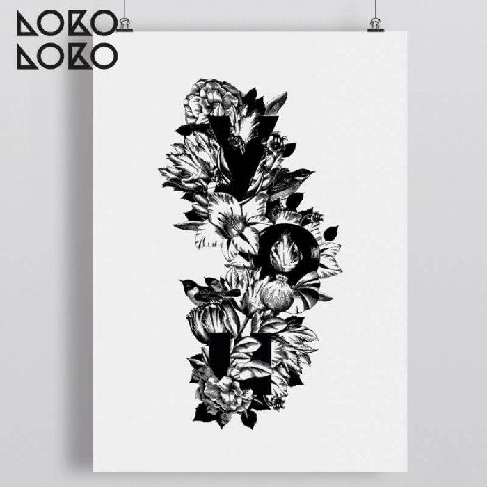 Decorative poster of black and white drawn flowers