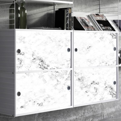 Vinyl decor of white texture marble printing for sideboards decoration
