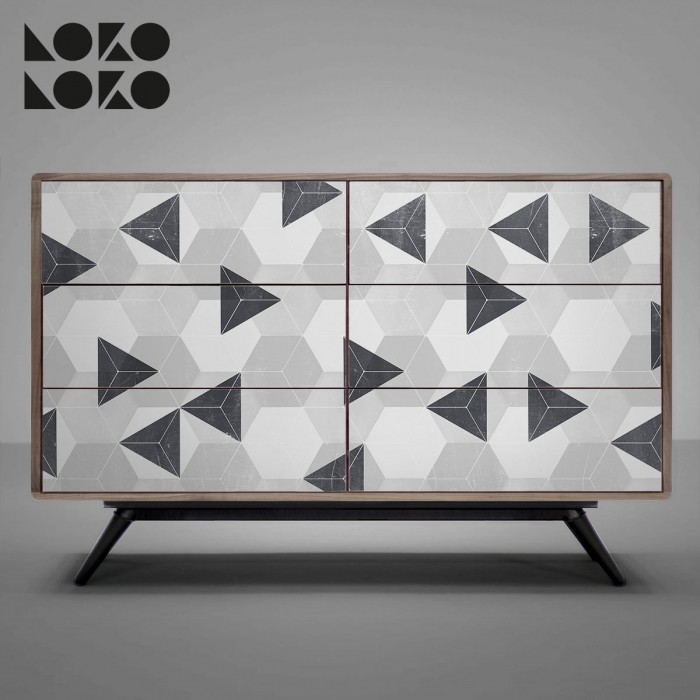 Vinyl og retro geometic design to decorate sideboards