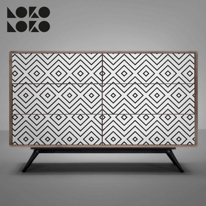 Vinyl for sideboards decoration with black rhombus pattern design