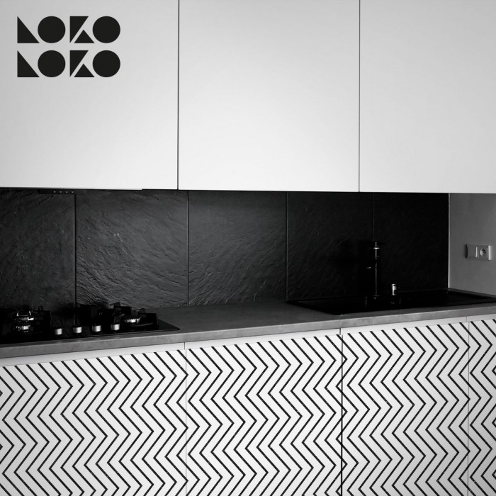 Vinyl to wrap kitchen furniture with elegant black lines pattern design