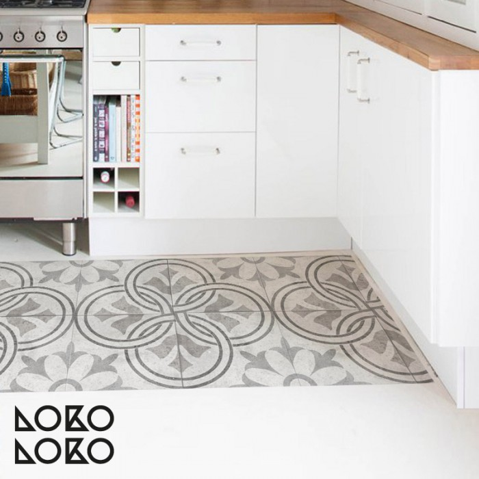 Vinyl of retro style tile for kitchen floor decoration