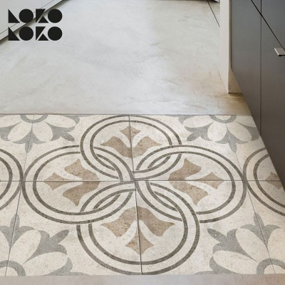Vinyl for floor decoration with design of brown retro tiles