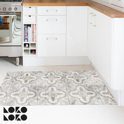 Vinyl for kitchen floor. Design of retro ceramic tiles