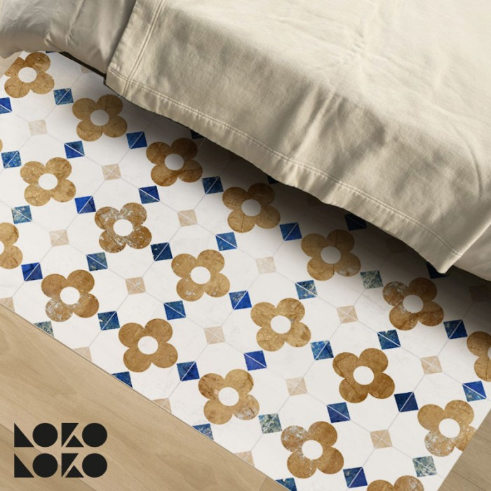 Vinyl for bedroom floor decoration with design of vintage flowers's tiles