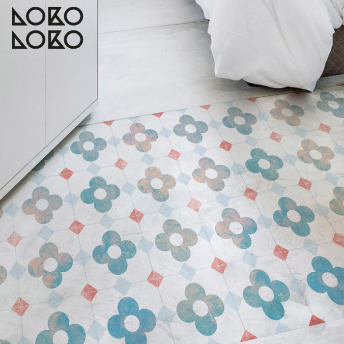 Vinyl sticker yo decorate bedroom floor with a design of worn out flowers's tiles