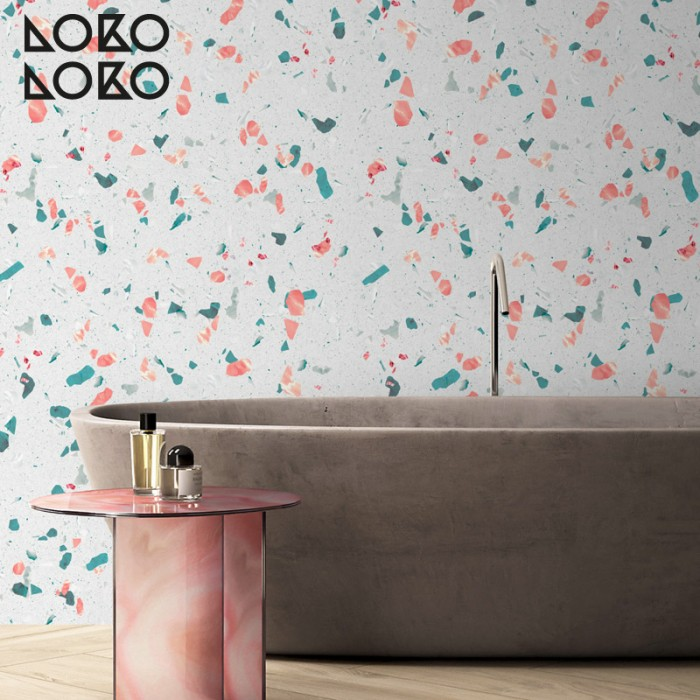 Elegant mediterranean terrazzo vinyl sticker to decorate floor and wooden furntiure