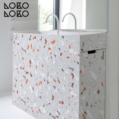 Vinyl for bathroom furniture decorating ideas with grey and orange terrazzo textures