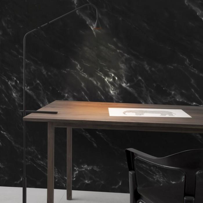 Vinilo decorativo de muebles y paredes de textura impresa de mármol negro