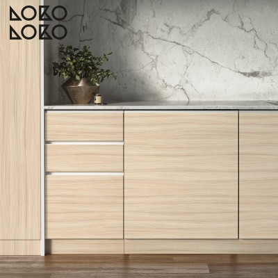 Vinyl of elegant wood textures printed to wrap kitchen furniture
