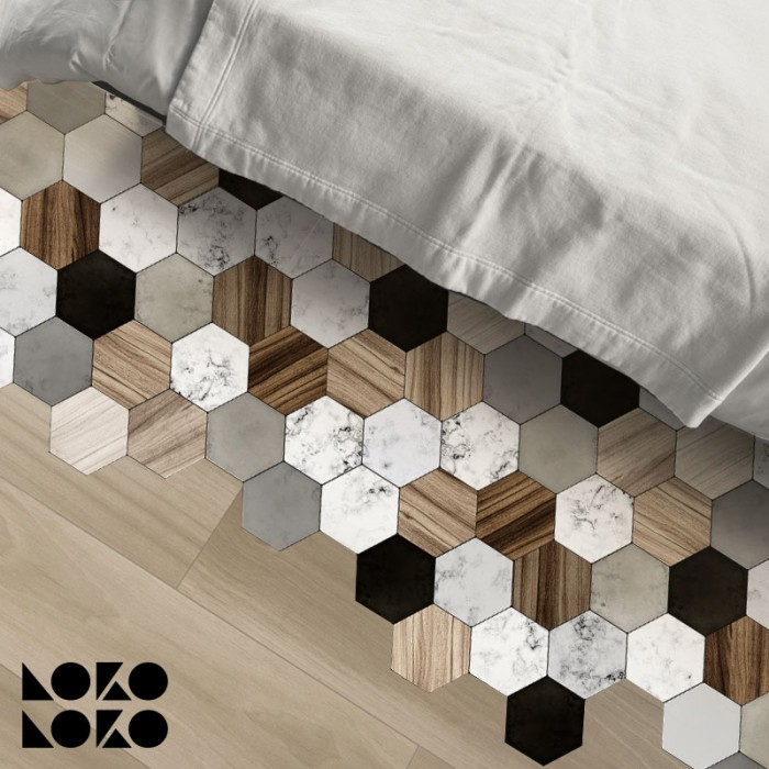 Vinyl for floor decor with ceramic, wood and marble hexagon tiles