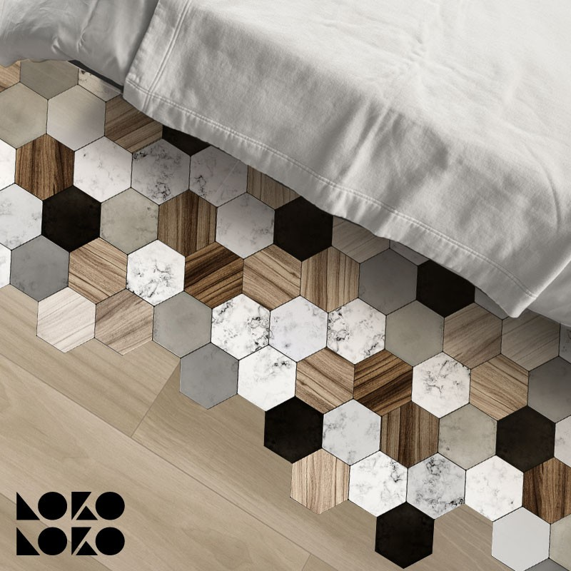 Marble And Wood Textures Hexagonal Tiles Adhesive Vinyl