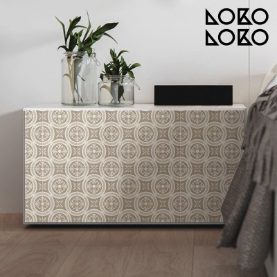 Vintage adhesive vinyl for furniture with ceramic pattern of geometric motifs