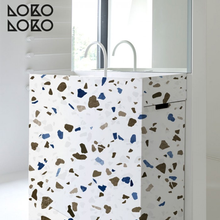 Vinyl for bathroom furniture decorating ideas with natural terrazzo textures printing