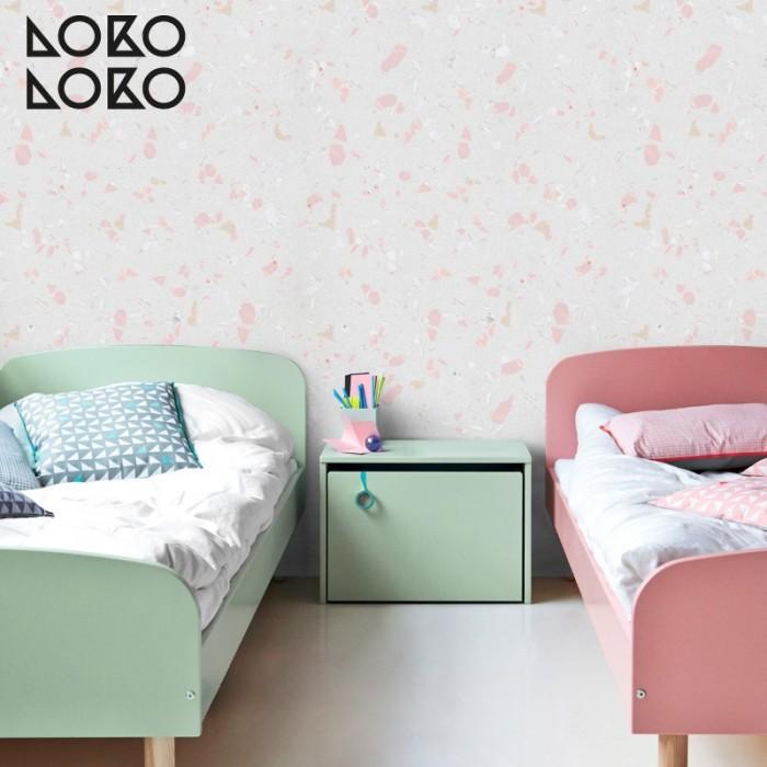 Vinilo de texturas de terrazo rosa para decorar dormitorios