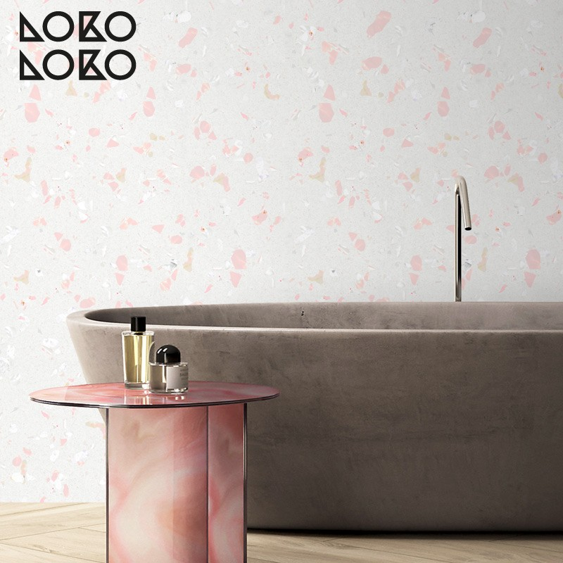 Pink terrazzo vinyl sticker to decorate wall, floor and