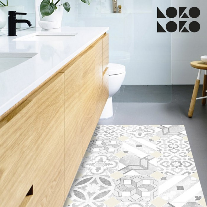 Adhesive vinyl sticker with hydraulic tiles design to decorate the floor