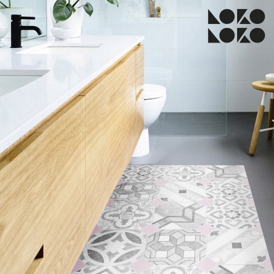 Vinyl for floor dcor with mosaic og pink rhombus and hydraulic tiles