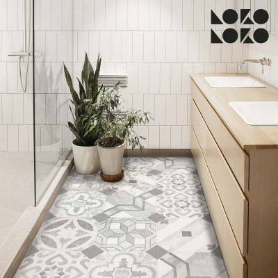 Vinyl for floor decor of grey hydraulic tiles