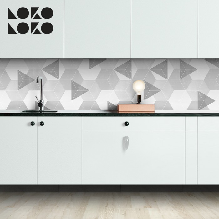 Light grey nordic hexagons vinyl to decorate the kitchen wall