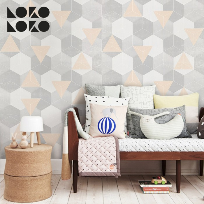 Vinyl for furniture an wall decorating ideas with design of nordic hexagons and warm triangles