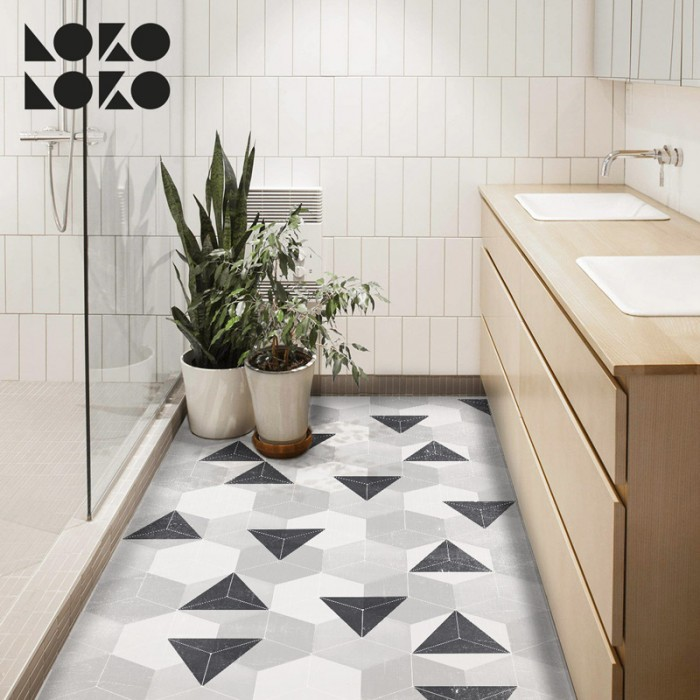 Vinyl for floor decor with design of grey nordic hexagons pattern