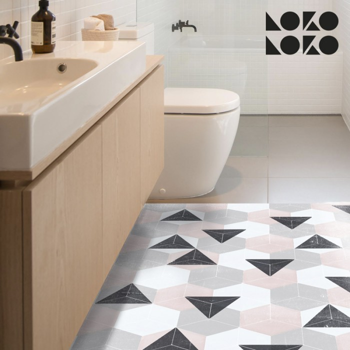 Selfadhesive vinyl sticker to decorate floors with grey and pink hexagons design
