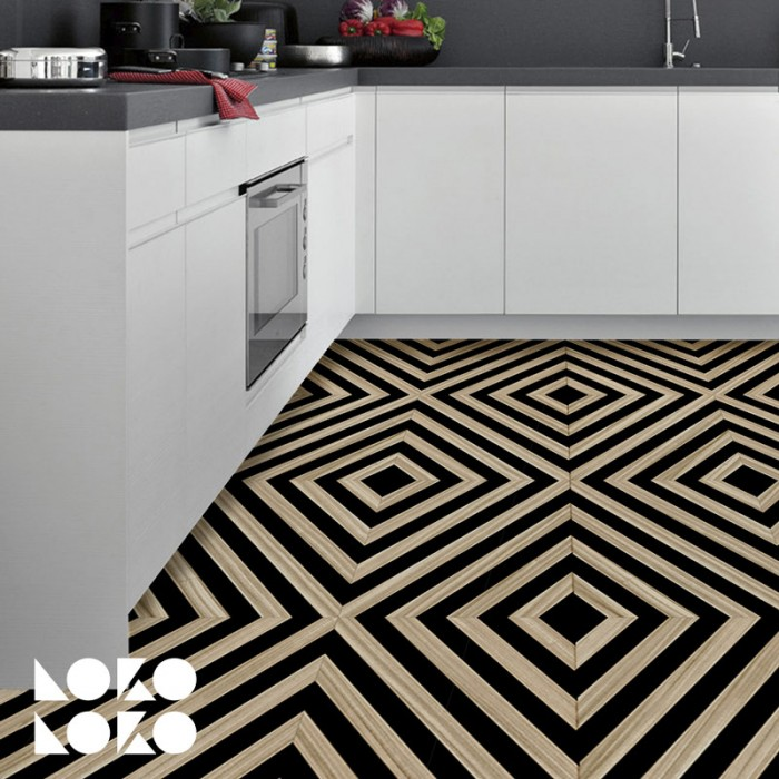 Vinyl for floor decor with design of black and wood rhombus pattern
