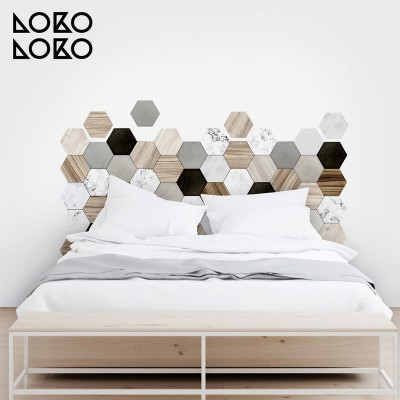 Vinyl to decorate furniture with pattern of wood and ceramic hexagons